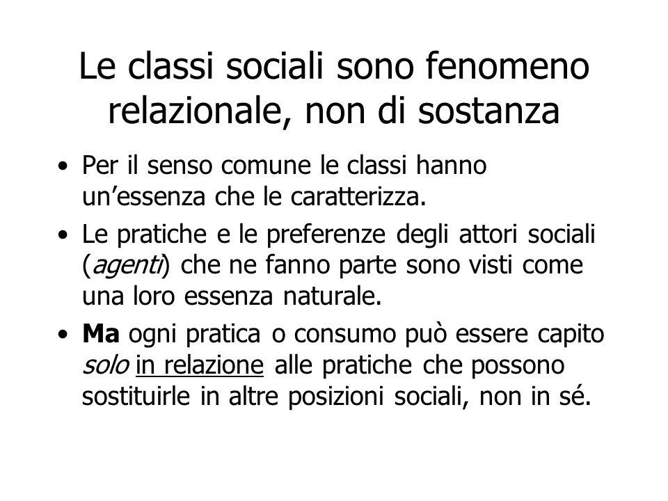 Le classi sociali sono fenomeno relazionale, non di sostanza Per il senso comune le classi hanno unessenza che le caratterizza. Le pratiche e le prefe