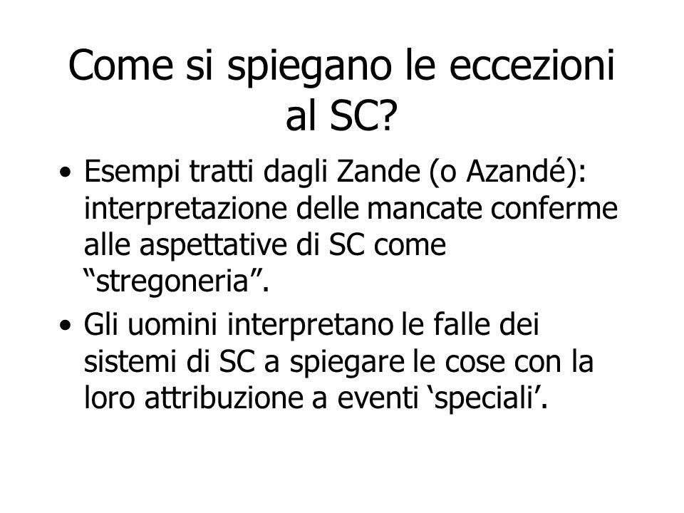 Come si spiegano le eccezioni al SC? Esempi tratti dagli Zande (o Azandé): interpretazione delle mancate conferme alle aspettative di SC come stregone