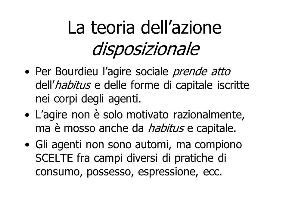 La teoria dellazione disposizionale Per Bourdieu lagire sociale prende atto dellhabitus e delle forme di capitale iscritte nei corpi degli agenti. Lag