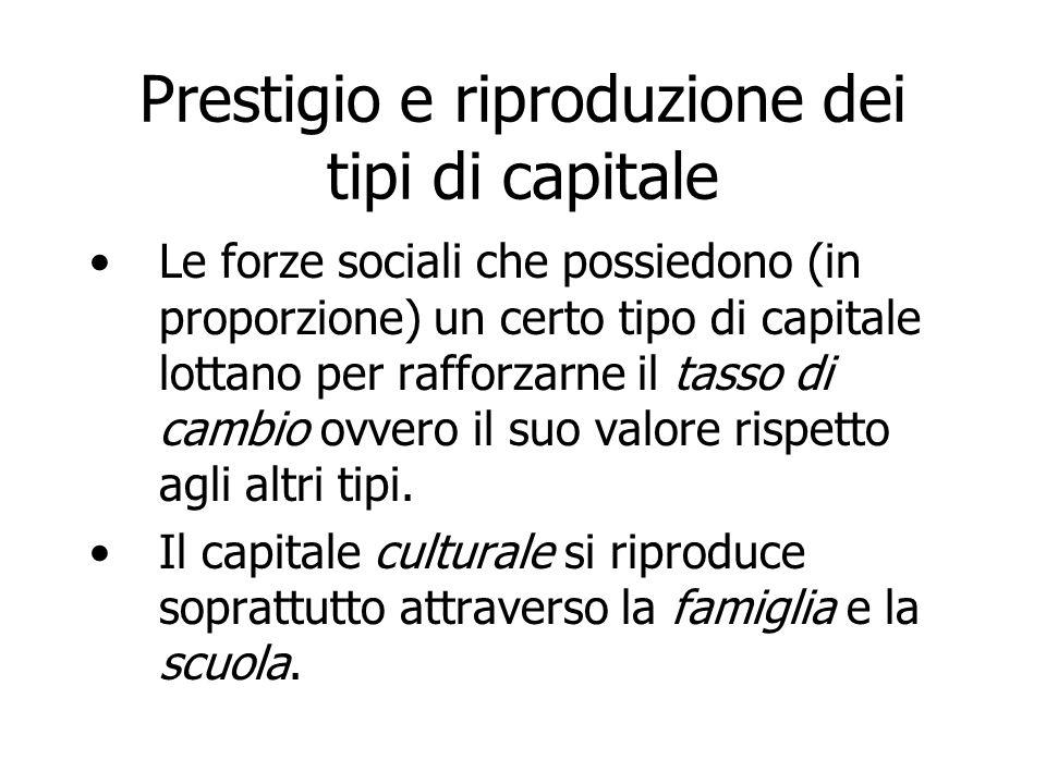 Prestigio e riproduzione dei tipi di capitale Le forze sociali che possiedono (in proporzione) un certo tipo di capitale lottano per rafforzarne il ta