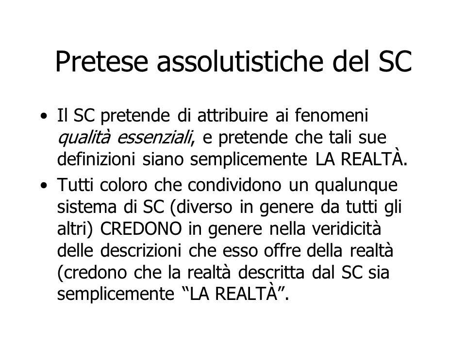 Pretese assolutistiche del SC Il SC pretende di attribuire ai fenomeni qualità essenziali, e pretende che tali sue definizioni siano semplicemente LA