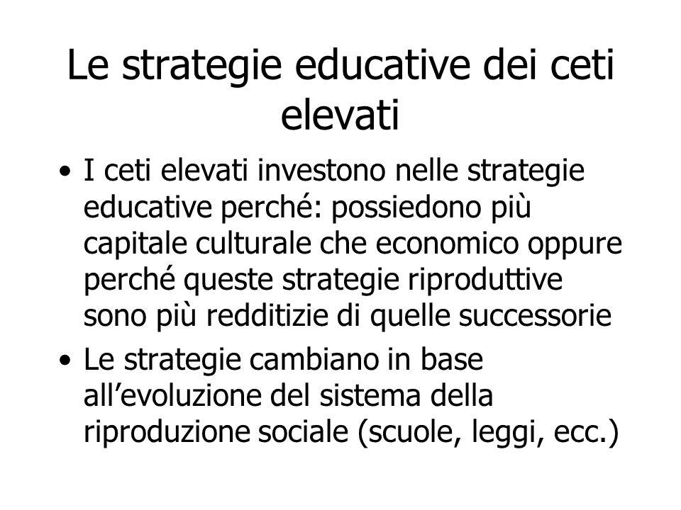 Le strategie educative dei ceti elevati I ceti elevati investono nelle strategie educative perché: possiedono più capitale culturale che economico opp