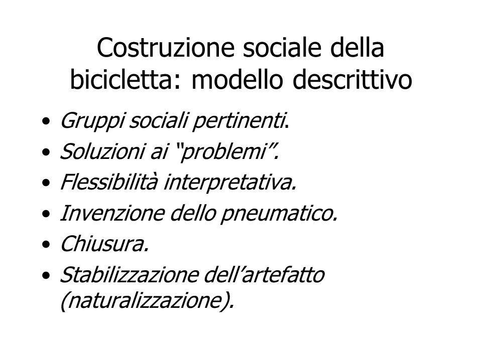 Costruzione sociale della bicicletta: modello descrittivo Gruppi sociali pertinenti. Soluzioni ai problemi. Flessibilità interpretativa. Invenzione de