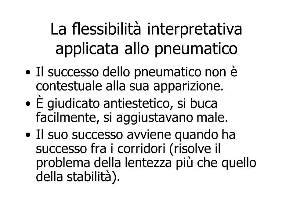 La flessibilità interpretativa applicata allo pneumatico Il successo dello pneumatico non è contestuale alla sua apparizione. È giudicato antiestetico