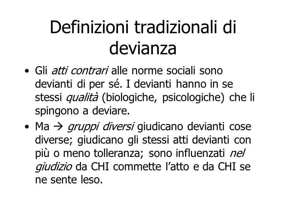 Definizioni tradizionali di devianza Gli atti contrari alle norme sociali sono devianti di per sé. I devianti hanno in se stessi qualità (biologiche,