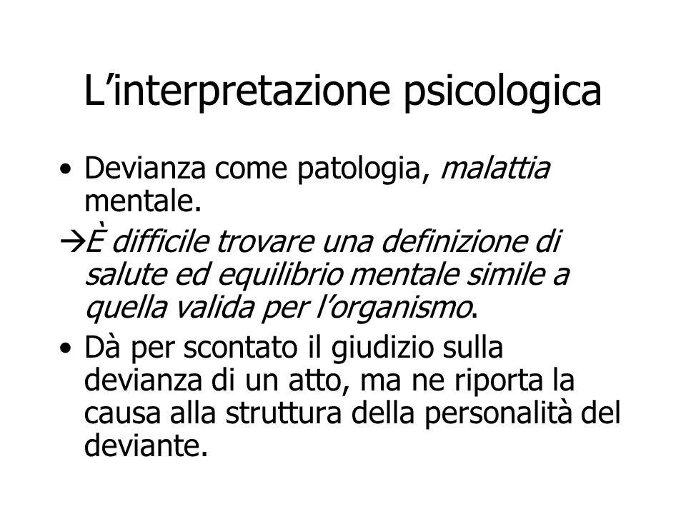 Linterpretazione psicologica Devianza come patologia, malattia mentale. È difficile trovare una definizione di salute ed equilibrio mentale simile a q