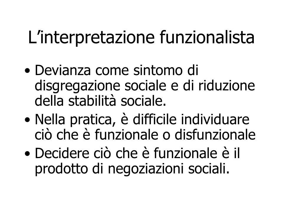 Linterpretazione funzionalista Devianza come sintomo di disgregazione sociale e di riduzione della stabilità sociale. Nella pratica, è difficile indiv