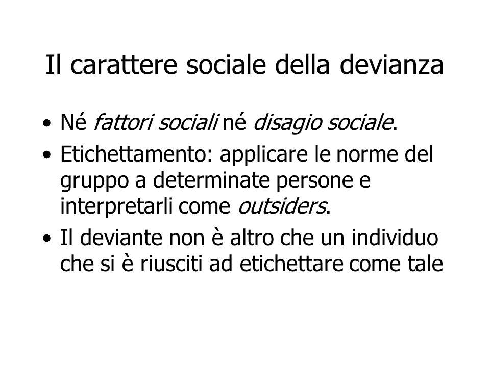 Il carattere sociale della devianza Né fattori sociali né disagio sociale. Etichettamento: applicare le norme del gruppo a determinate persone e inter