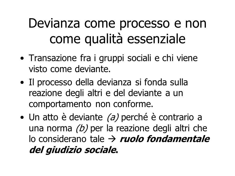 Devianza come processo e non come qualità essenziale Transazione fra i gruppi sociali e chi viene visto come deviante. Il processo della devianza si f