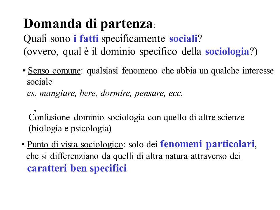 Domanda di partenza : Quali sono i fatti specificamente sociali? (ovvero, qual è il dominio specifico della sociologia?) Senso comune: qualsiasi fenom