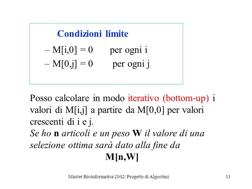 Master Bioinformatica 2002: Progetto di Algoritmi11 Condizioni limite –M[i,0] = 0 per ogni i –M[0,j] = 0 per ogni j Posso calcolare in modo iterativo (bottom-up) i valori di M[i,j] a partire da M[0,0] per valori crescenti di i e j.