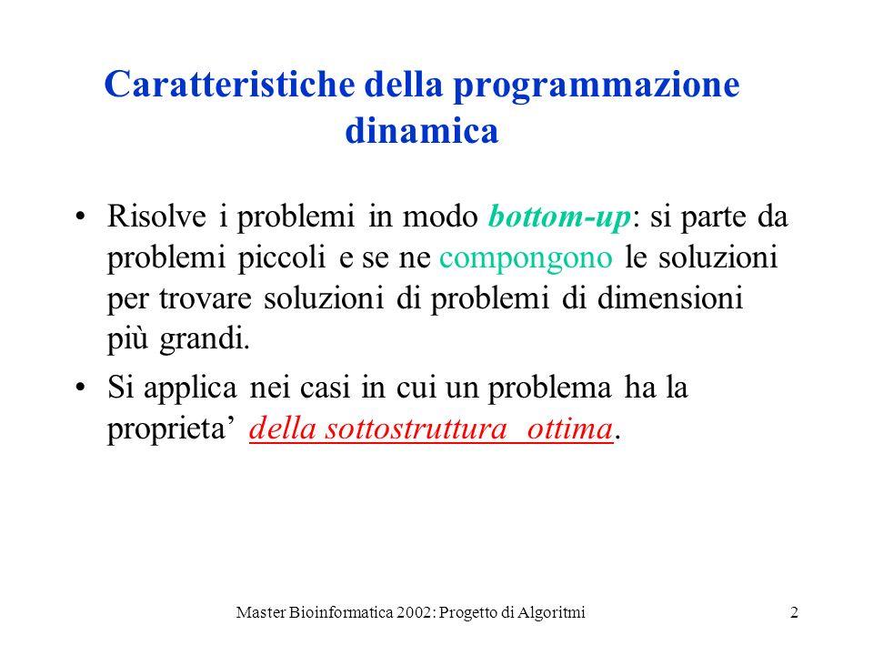 Master Bioinformatica 2002: Progetto di Algoritmi2 Caratteristiche della programmazione dinamica Risolve i problemi in modo bottom-up: si parte da problemi piccoli e se ne compongono le soluzioni per trovare soluzioni di problemi di dimensioni più grandi.