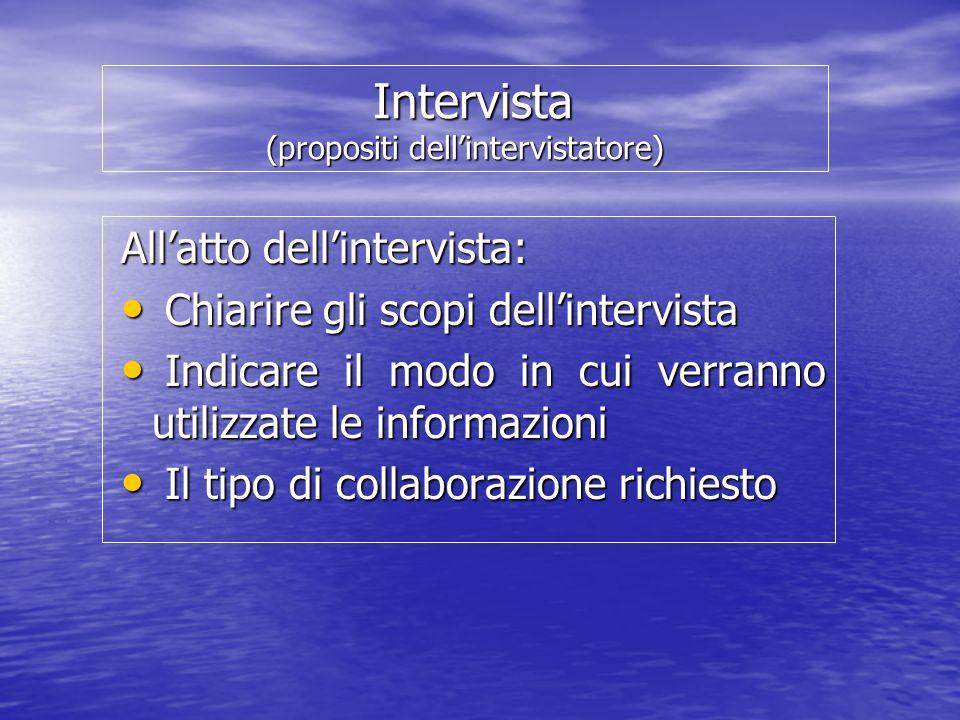Intervista (propositi dellintervistatore) Intervista (propositi dellintervistatore) Allatto dellintervista: Chiarire gli scopi dellintervista Chiarire gli scopi dellintervista Indicare il modo in cui verranno utilizzate le informazioni Indicare il modo in cui verranno utilizzate le informazioni Il tipo di collaborazione richiesto Il tipo di collaborazione richiesto
