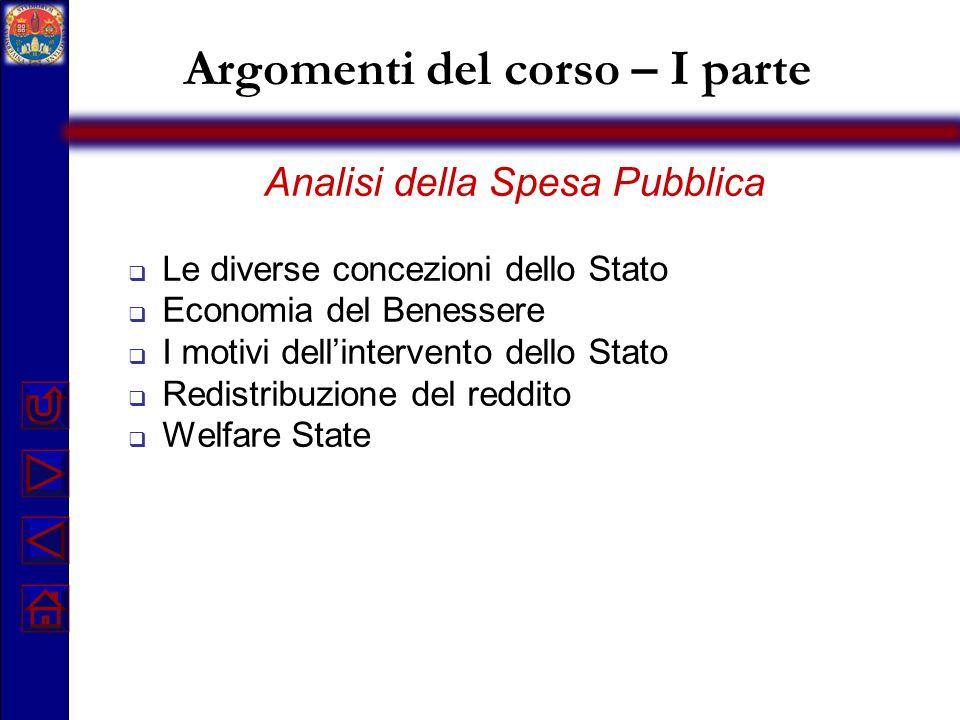 Argomenti del corso – I parte Analisi della Spesa Pubblica Le diverse concezioni dello Stato Economia del Benessere I motivi dellintervento dello Stat