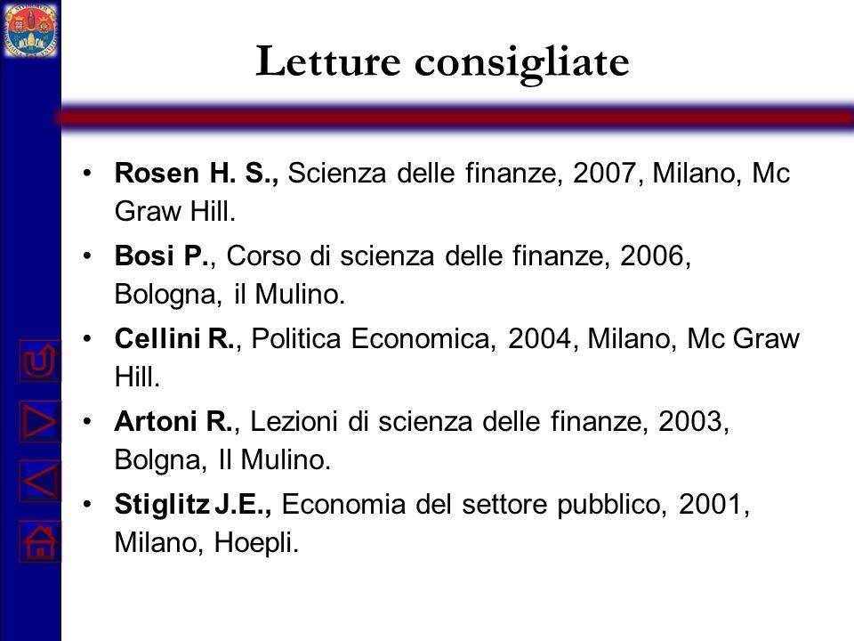 Letture consigliate Rosen H. S., Scienza delle finanze, 2007, Milano, Mc Graw Hill. Bosi P., Corso di scienza delle finanze, 2006, Bologna, il Mulino.