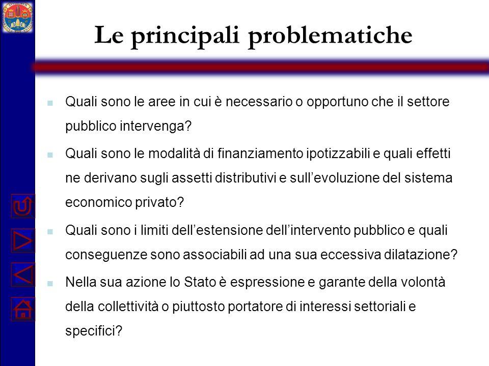 Le principali problematiche Quali sono le aree in cui è necessario o opportuno che il settore pubblico intervenga? Quali sono le modalità di finanziam