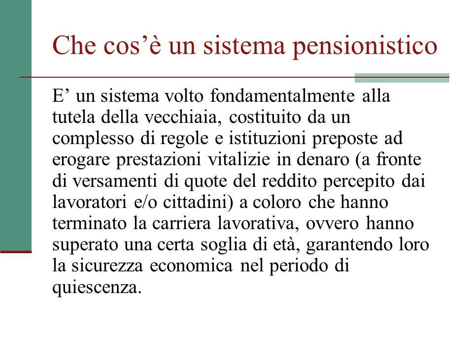 Che cosè un sistema pensionistico E un sistema volto fondamentalmente alla tutela della vecchiaia, costituito da un complesso di regole e istituzioni