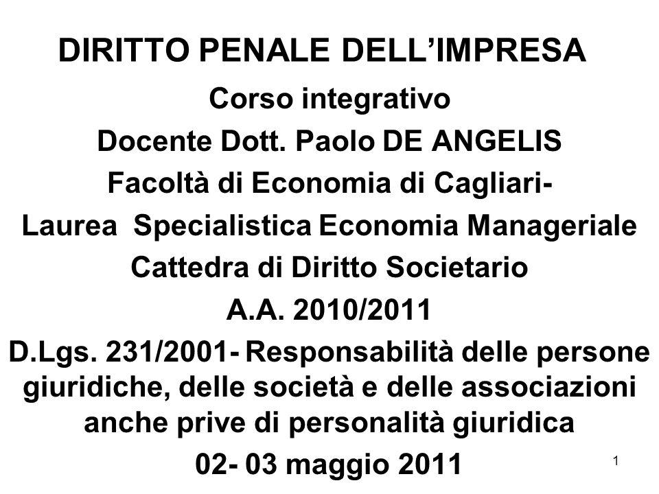 1 DIRITTO PENALE DELLIMPRESA Corso integrativo Docente Dott. Paolo DE ANGELIS Facoltà di Economia di Cagliari- Laurea Specialistica Economia Manageria