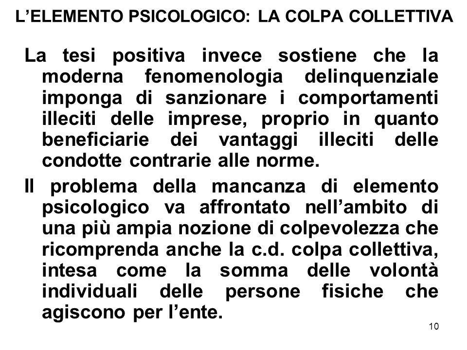 10 LELEMENTO PSICOLOGICO: LA COLPA COLLETTIVA La tesi positiva invece sostiene che la moderna fenomenologia delinquenziale imponga di sanzionare i com