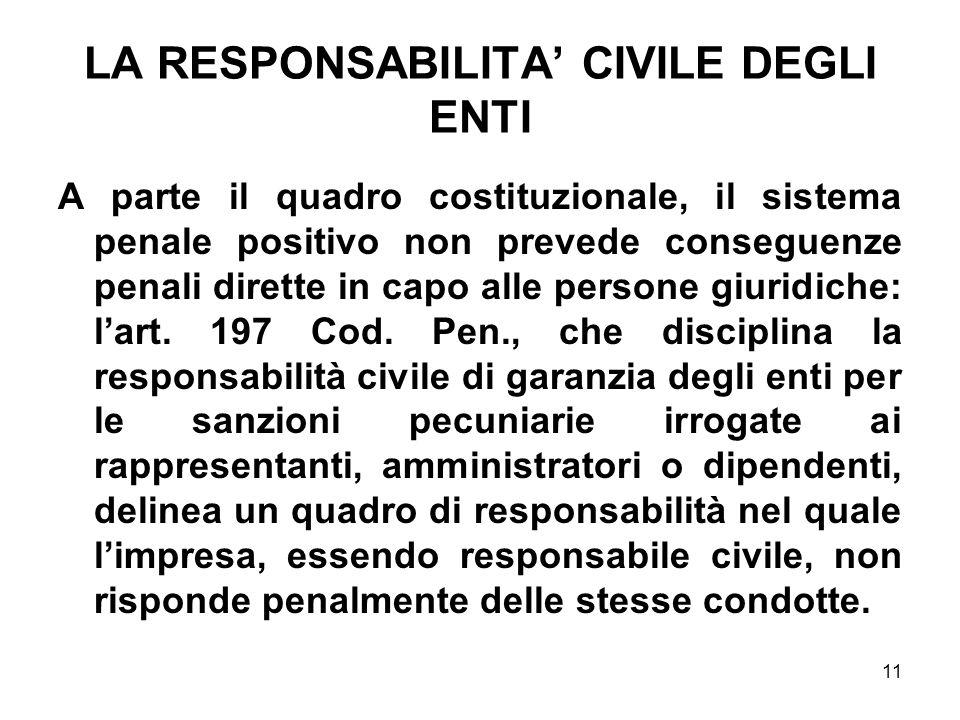 11 LA RESPONSABILITA CIVILE DEGLI ENTI A parte il quadro costituzionale, il sistema penale positivo non prevede conseguenze penali dirette in capo all