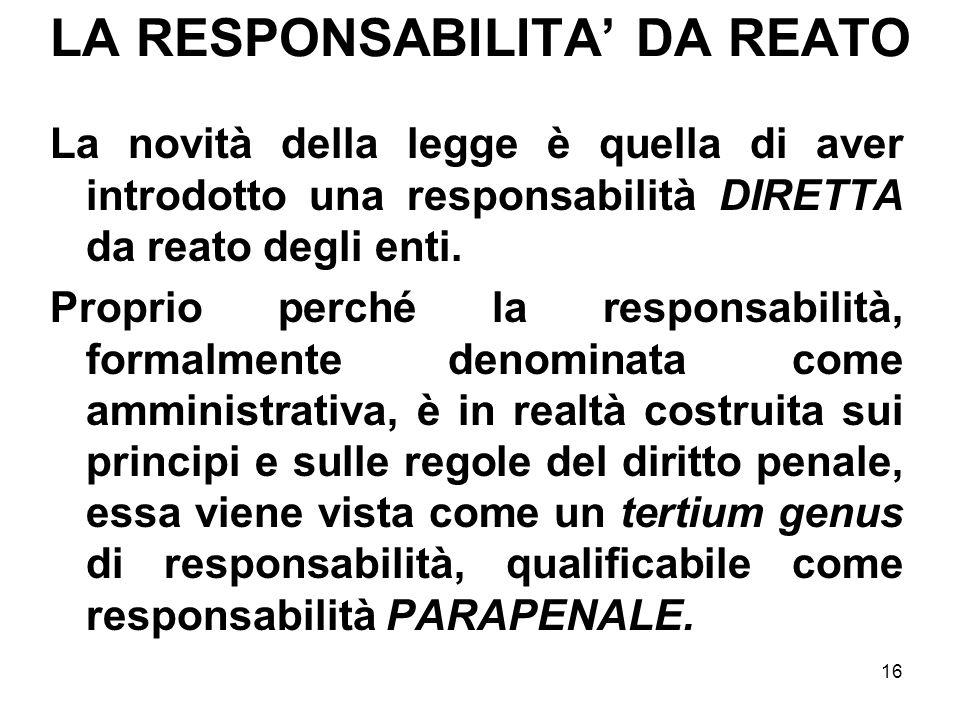 16 LA RESPONSABILITA DA REATO La novità della legge è quella di aver introdotto una responsabilità DIRETTA da reato degli enti. Proprio perché la resp