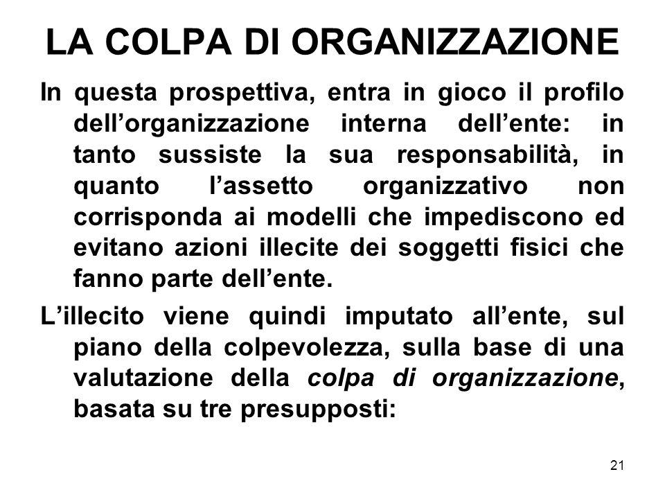 21 LA COLPA DI ORGANIZZAZIONE In questa prospettiva, entra in gioco il profilo dellorganizzazione interna dellente: in tanto sussiste la sua responsab