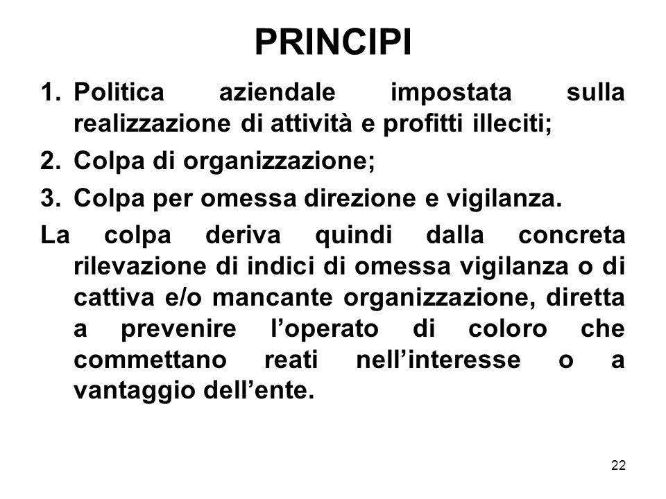 22 PRINCIPI 1.Politica aziendale impostata sulla realizzazione di attività e profitti illeciti; 2.Colpa di organizzazione; 3.Colpa per omessa direzion