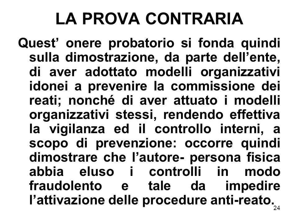 24 LA PROVA CONTRARIA Quest onere probatorio si fonda quindi sulla dimostrazione, da parte dellente, di aver adottato modelli organizzativi idonei a p