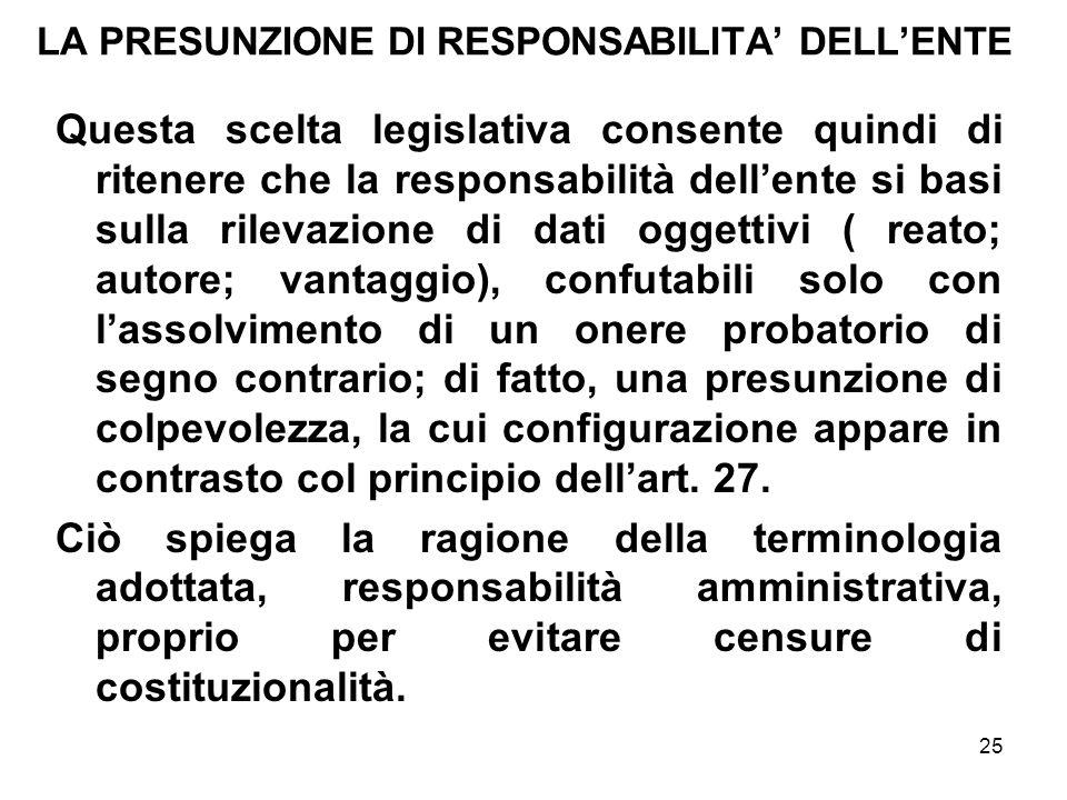 25 LA PRESUNZIONE DI RESPONSABILITA DELLENTE Questa scelta legislativa consente quindi di ritenere che la responsabilità dellente si basi sulla rileva