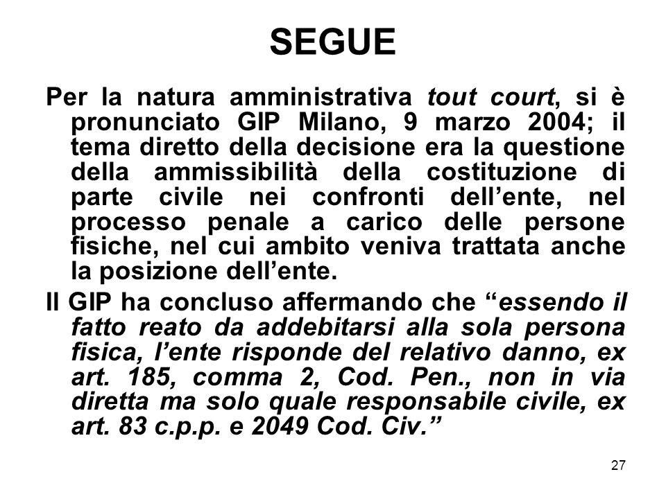 27 SEGUE Per la natura amministrativa tout court, si è pronunciato GIP Milano, 9 marzo 2004; il tema diretto della decisione era la questione della am