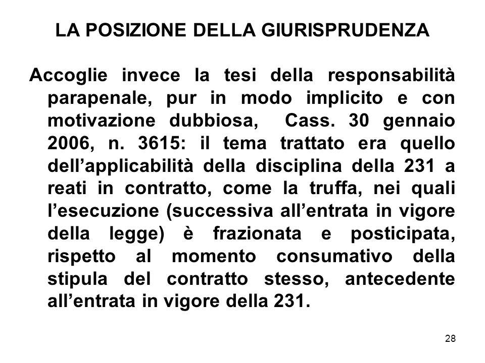 28 LA POSIZIONE DELLA GIURISPRUDENZA Accoglie invece la tesi della responsabilità parapenale, pur in modo implicito e con motivazione dubbiosa, Cass.