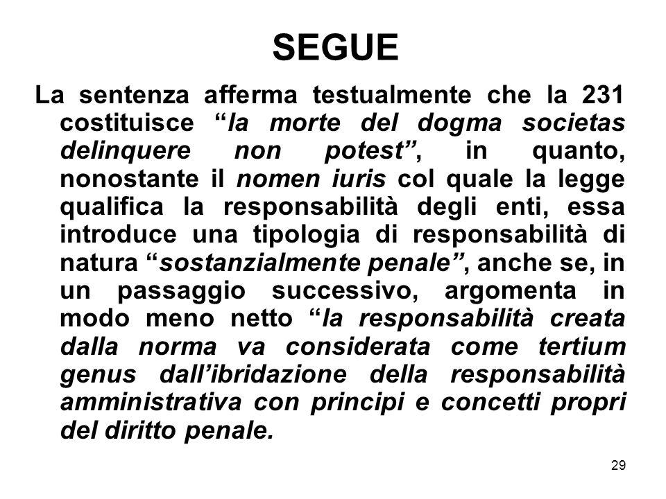 29 SEGUE La sentenza afferma testualmente che la 231 costituisce la morte del dogma societas delinquere non potest, in quanto, nonostante il nomen iur