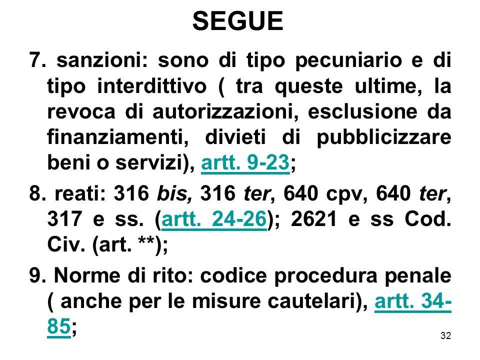 32 SEGUE 7. sanzioni: sono di tipo pecuniario e di tipo interdittivo ( tra queste ultime, la revoca di autorizzazioni, esclusione da finanziamenti, di
