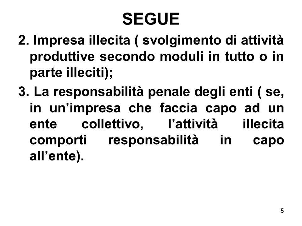5 SEGUE 2. Impresa illecita ( svolgimento di attività produttive secondo moduli in tutto o in parte illeciti); 3. La responsabilità penale degli enti
