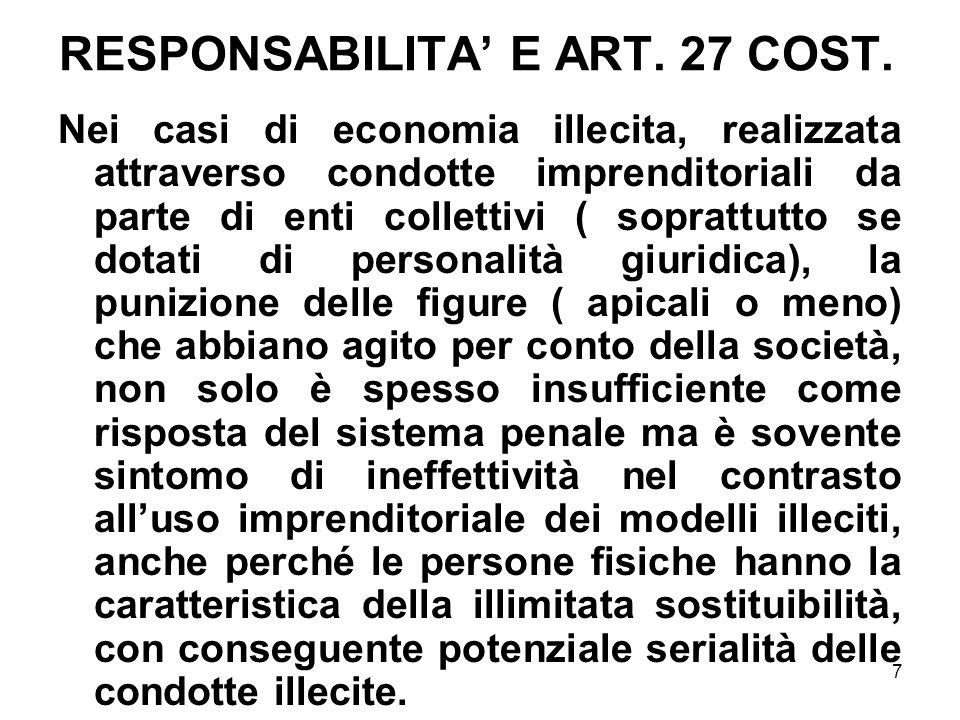 7 RESPONSABILITA E ART. 27 COST. Nei casi di economia illecita, realizzata attraverso condotte imprenditoriali da parte di enti collettivi ( soprattut