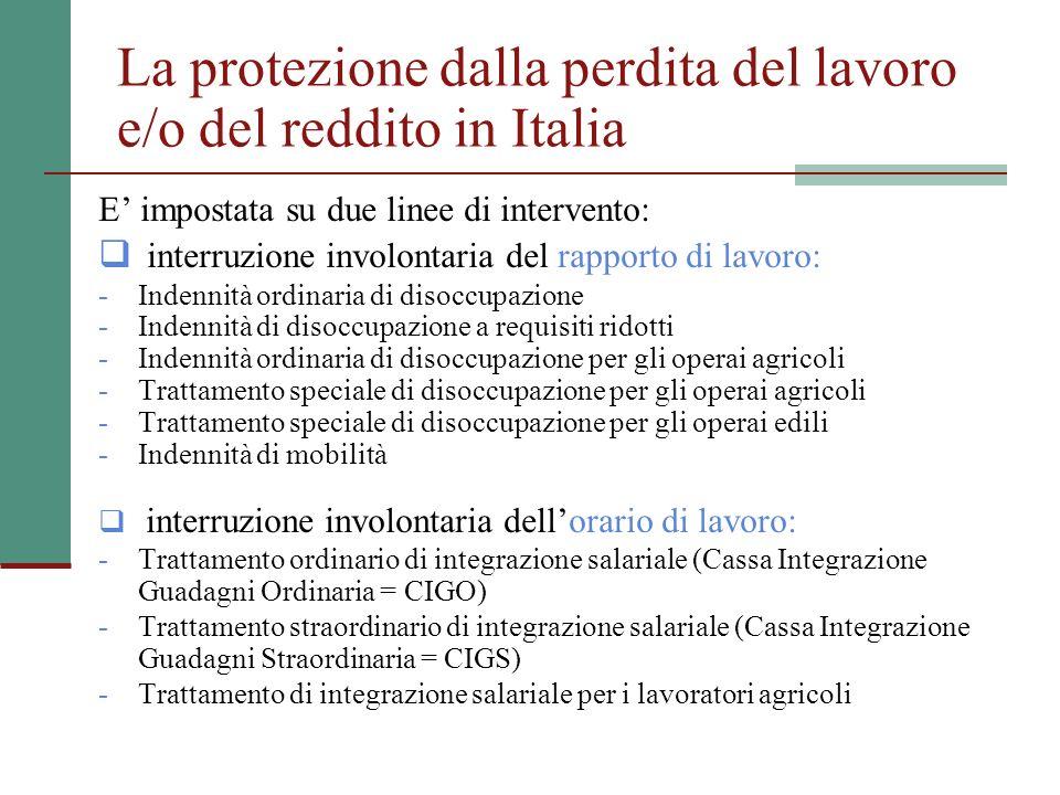 La protezione dalla perdita del lavoro e/o del reddito in Italia E impostata su due linee di intervento: interruzione involontaria del rapporto di lavoro: - Indennità ordinaria di disoccupazione - Indennità di disoccupazione a requisiti ridotti - Indennità ordinaria di disoccupazione per gli operai agricoli - Trattamento speciale di disoccupazione per gli operai agricoli - Trattamento speciale di disoccupazione per gli operai edili - Indennità di mobilità interruzione involontaria dellorario di lavoro: - Trattamento ordinario di integrazione salariale (Cassa Integrazione Guadagni Ordinaria = CIGO) - Trattamento straordinario di integrazione salariale (Cassa Integrazione Guadagni Straordinaria = CIGS) - Trattamento di integrazione salariale per i lavoratori agricoli