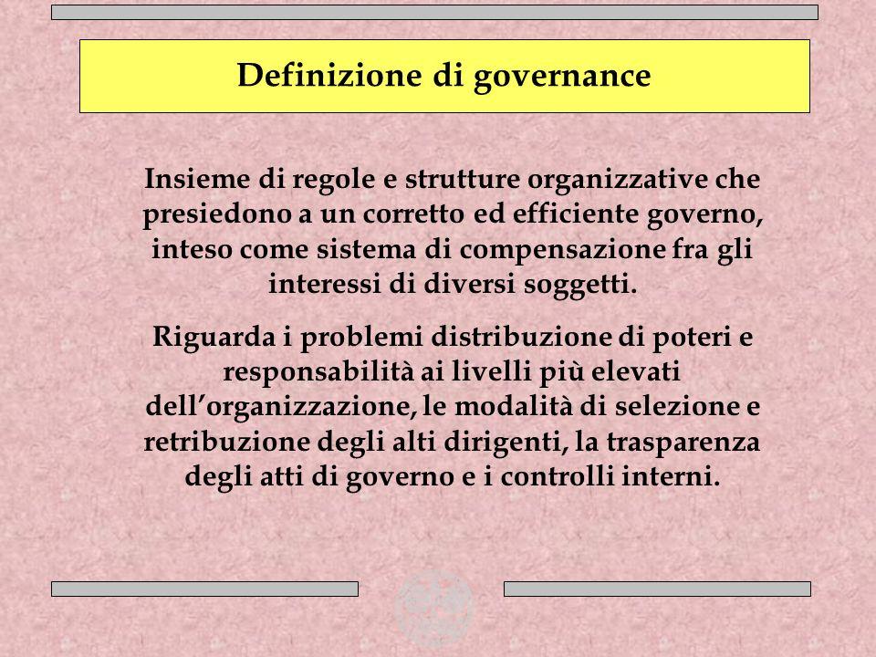 Come si distribuiscono i poteri e le responsabilità nel governo dellimpresa Crescente potere della grande impresa Ampliarsi del ruolo sociale dellimpresa Allargarsi della schiera dei soggetti che influenzano la strategia e il successo aziendale Problematiche della governance