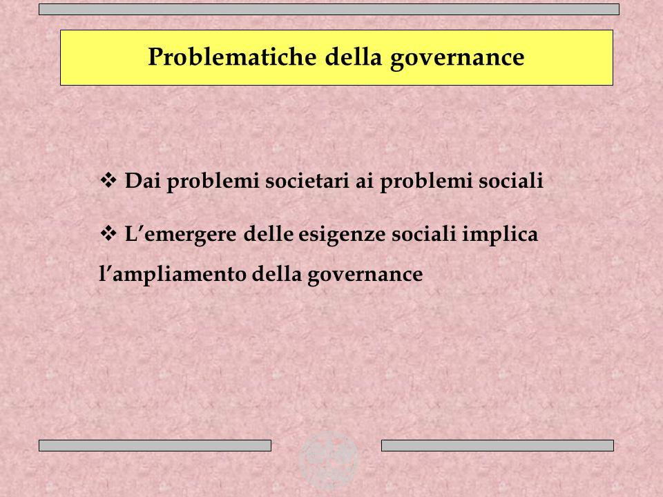 Dai problemi societari ai problemi sociali Lemergere delle esigenze sociali implica lampliamento della governance Problematiche della governance