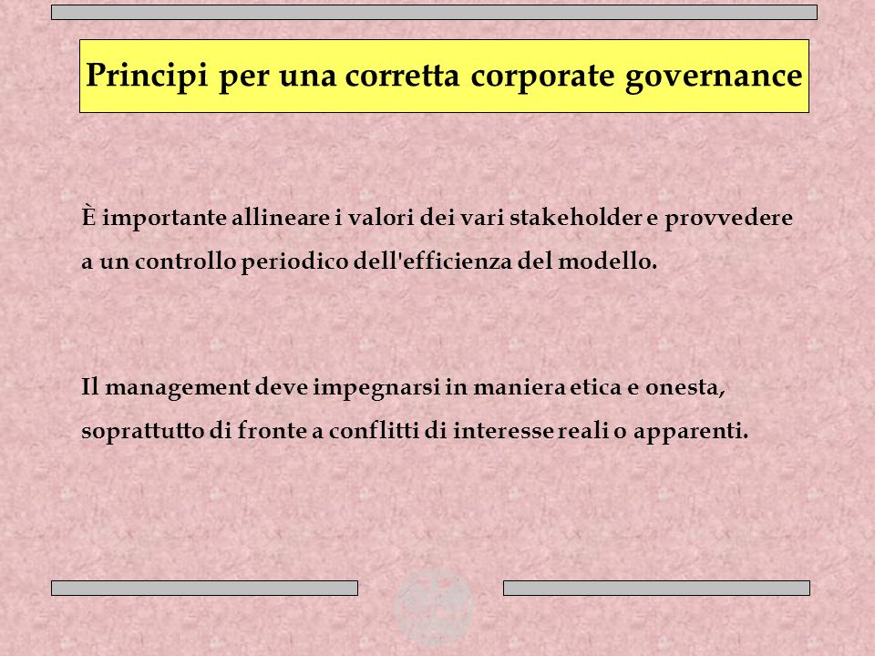 È importante allineare i valori dei vari stakeholder e provvedere a un controllo periodico dell'efficienza del modello. Il management deve impegnarsi