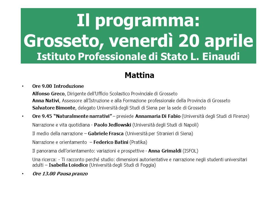 Il programma: Grosseto, venerdì 20 aprile Istituto Professionale di Stato L. Einaudi Mattina Ore 9.00 Introduzione Alfonso Greco, Dirigente dellUffici
