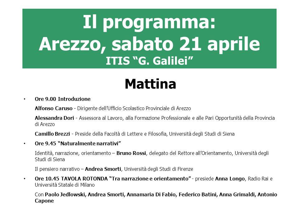 Il programma: Arezzo, sabato 21 aprile ITIS G. Galilei Mattina Ore 9.00 Introduzione Alfonso Caruso - Dirigente dellUfficio Scolastico Provinciale di
