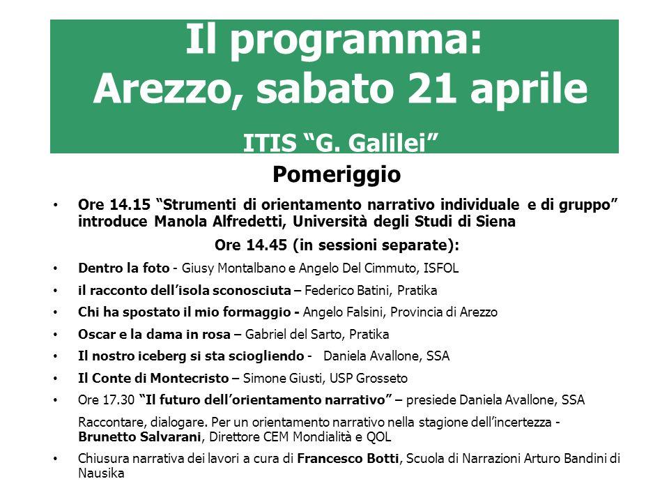 Il programma: Arezzo, sabato 21 aprile ITIS G. Galilei Pomeriggio Ore 14.15 Strumenti di orientamento narrativo individuale e di gruppo introduce Mano