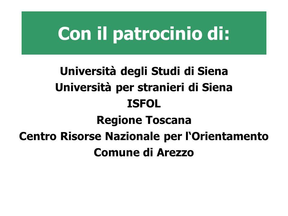Con il patrocinio di: Università degli Studi di Siena Università per stranieri di Siena ISFOL Regione Toscana Centro Risorse Nazionale per lOrientamen