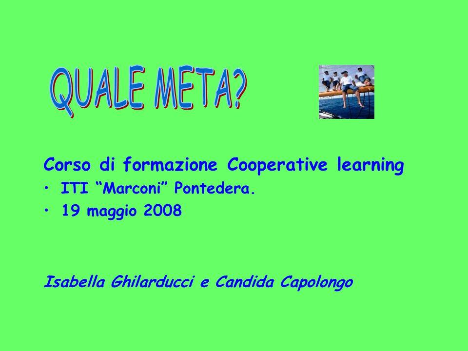 Corso di formazione Cooperative learning ITI Marconi Pontedera. 19 maggio 2008 Isabella Ghilarducci e Candida Capolongo