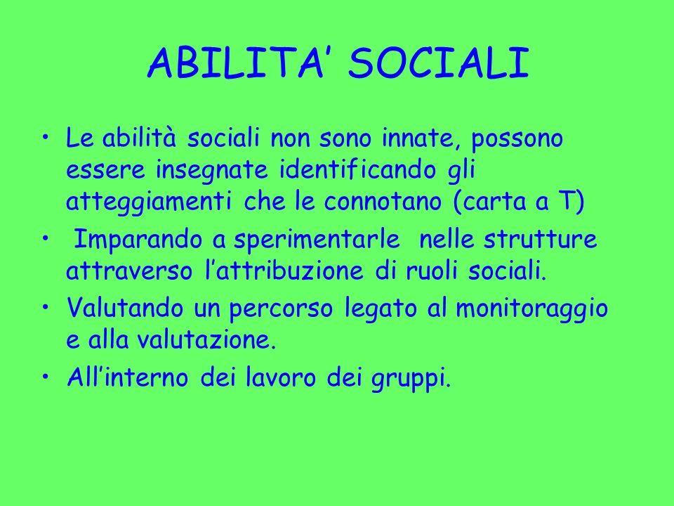 ABILITA SOCIALI Le abilità sociali non sono innate, possono essere insegnate identificando gli atteggiamenti che le connotano (carta a T) Imparando a