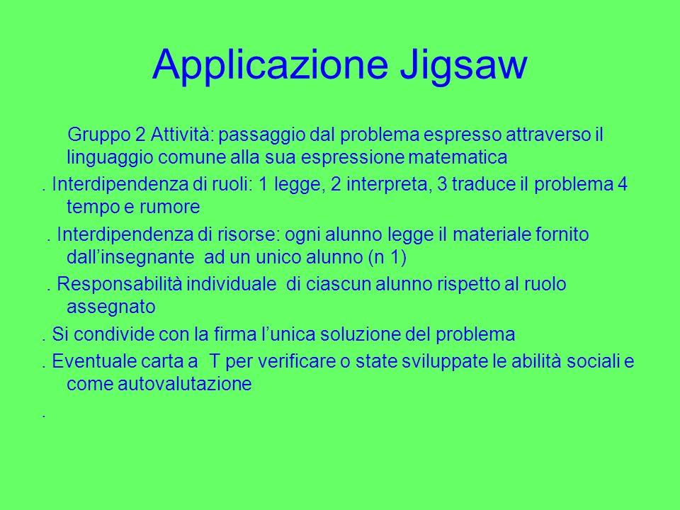 Applicazione Jigsaw Gruppo 2 Attività: passaggio dal problema espresso attraverso il linguaggio comune alla sua espressione matematica. Interdipendenz