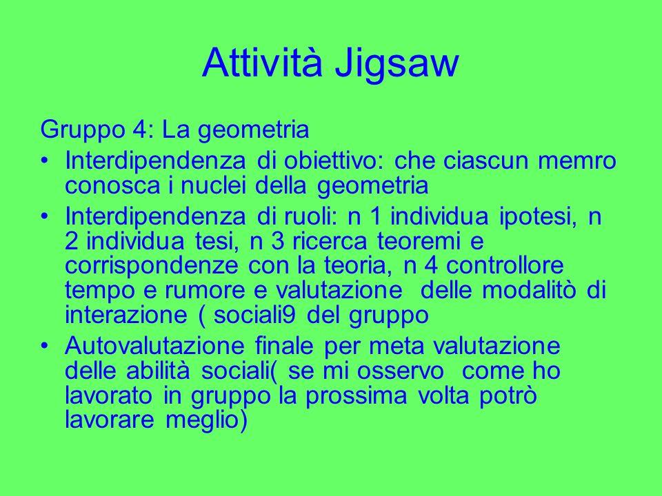 Attività Jigsaw Gruppo 4: La geometria Interdipendenza di obiettivo: che ciascun memro conosca i nuclei della geometria Interdipendenza di ruoli: n 1