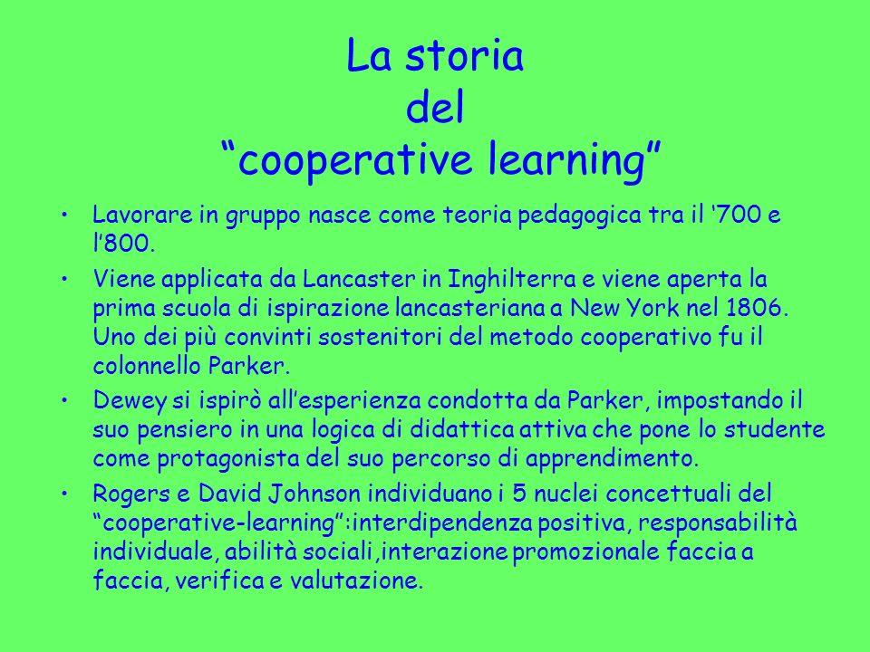 La storia del cooperative learning Lavorare in gruppo nasce come teoria pedagogica tra il 700 e l800. Viene applicata da Lancaster in Inghilterra e vi