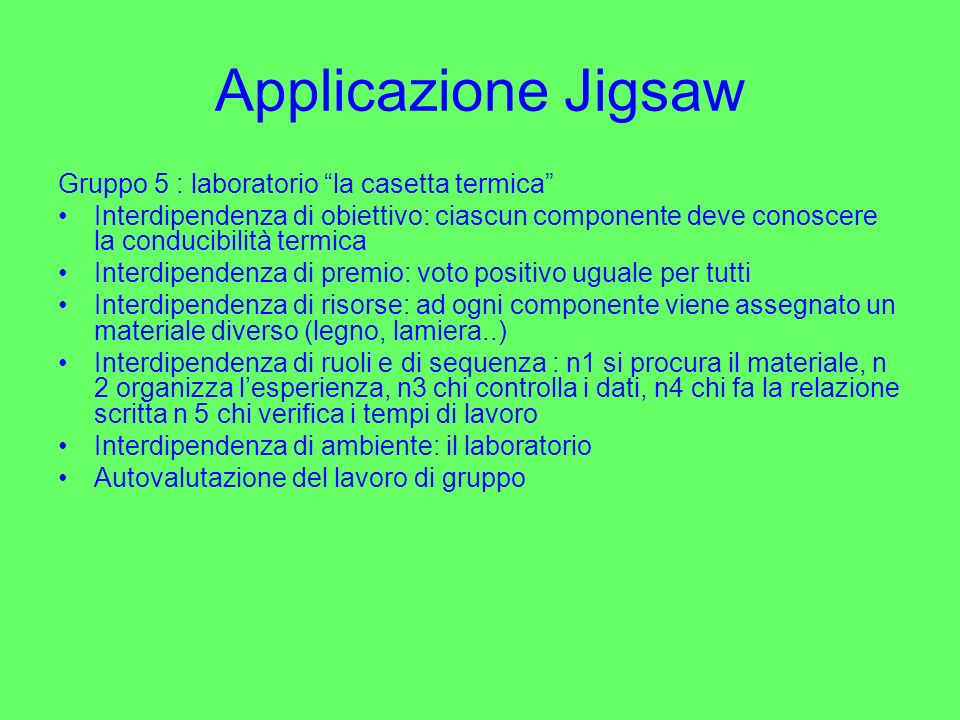 Applicazione Jigsaw Gruppo 5 : laboratorio la casetta termica Interdipendenza di obiettivo: ciascun componente deve conoscere la conducibilità termica