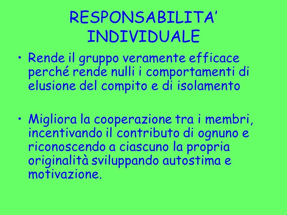 RESPONSABILITA INDIVIDUALE Rende il gruppo veramente efficace perché rende nulli i comportamenti di elusione del compito e di isolamento Migliora la c